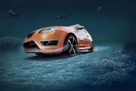 水中海生活の中で動車 写真素材