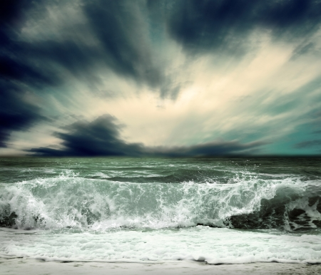 stormy sky: View of storm seascape Stock Photo