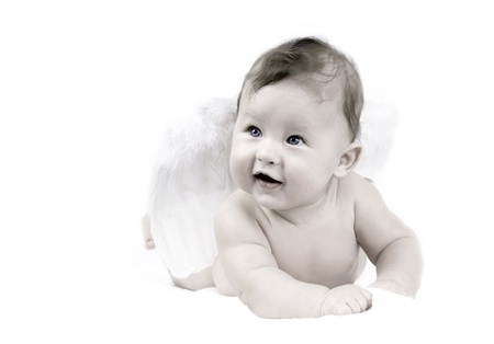 baby angel: Happiness baby angel on the white background