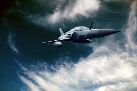 fighter pilot: Military airplan on the speed in the sky
