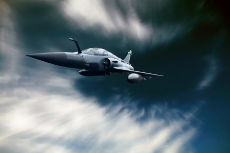 fighter jet: Military airplan on the speed in the sky