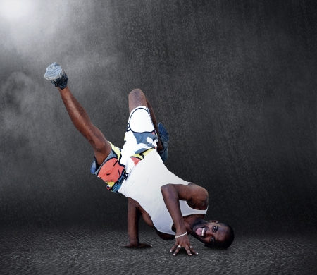 Young man dancer in new stay pose at raine