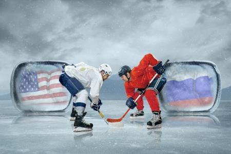 hockey puck: Ice hockey players in the ice