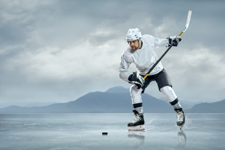 Ice hockey players on the ice Stock Photo