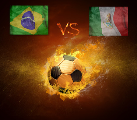 scorching: Hot soccer ball in fires flame, friendly game Brasil and Mexica