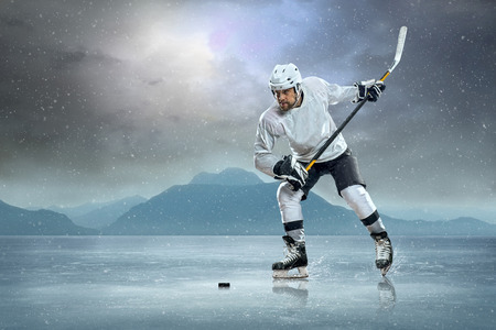 ICE RINK: Ice hockey player on the ice