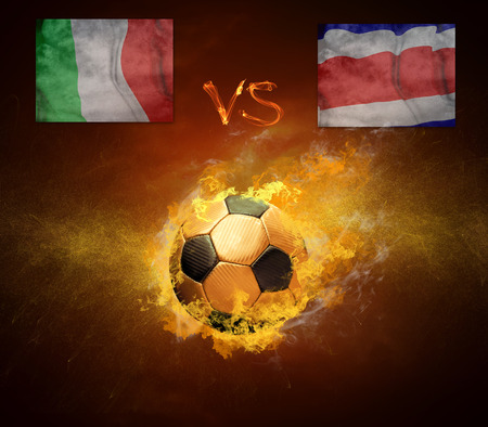 worldcup: Hot soccer ball in fires flame, friendly game Italy and Costa Rica