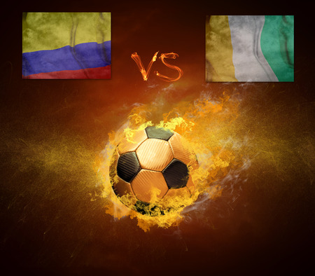 cote d'ivoire: Hot soccer ball in fires flame, friendly game Columbia and Cote d Ivoire