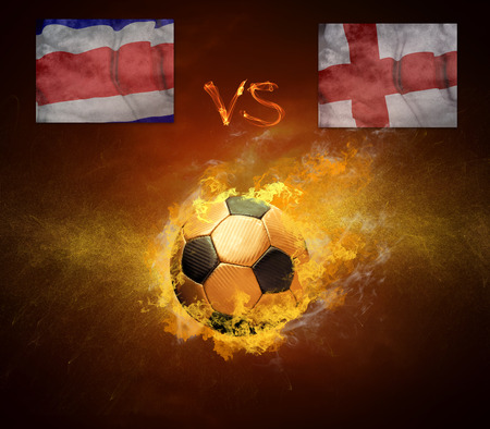 Hot soccer ball in fires flame, game Costa Rica and England  photo