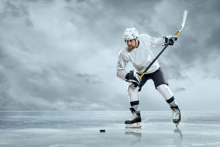 sportsmanship: Ice hockey players on the ice Stock Photo