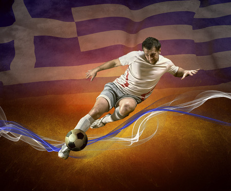 worldcup: Abstract waves aroun soccer player on the national flag