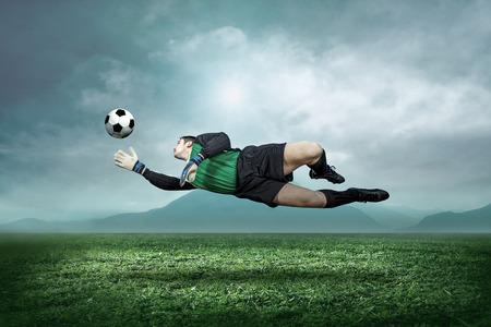 portero: Portero con la bola en la acción exterior.
