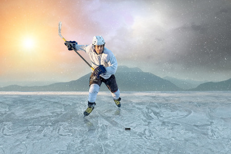 Ice hockey player on the ice  USA national team  Stock Photo