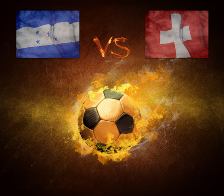 scorching: Hot soccer ball in fires flame, friendly game beetwin Brasil and Croatia