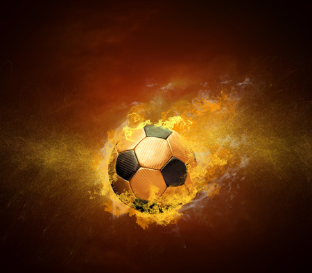 team spirit: Hot soccer ball in fires flame, friendly game beetwin Brasil and Croatia