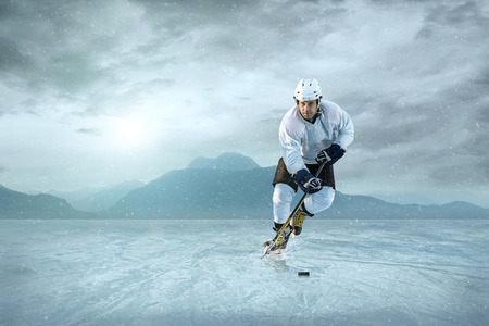 ICE RINK: Ice hockey player on the ice. USA national team. Stock Photo