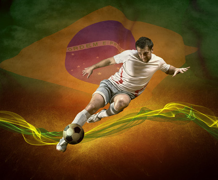 worldcup: Abstract waves around soccer player on the national flag