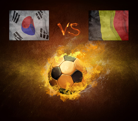 worldcup: Hot soccer ball in fires flame, friendly game beetwin Brasil and Croatia