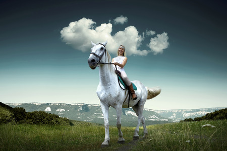 Young horsewoman riding on white horse, outdoors view Stock Photo - 27927258