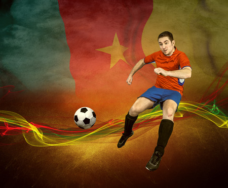 worldcup: Abstract waves aroun soccer player on the national flag background