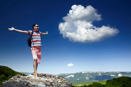 fitness motivation: Man on the top of mountain Stock Photo