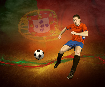 Abstract waves aroun soccer player on the national flag background photo