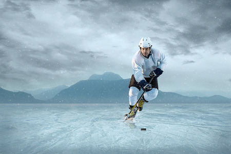 ice hockey player: Ice hockey player on the ice. USA national team. Stock Photo