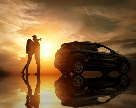 Silhouette of happiness couple stay near the new car under sky with reflex Stok Fotoğraf