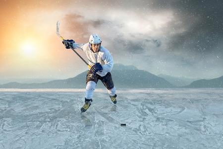 iceskating: Ice hockey player on the ice. USA national team. Stock Photo
