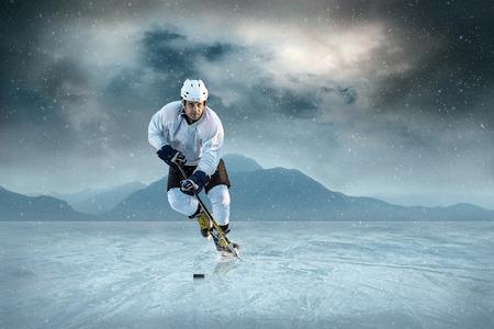 sportsmanship: Ice hockey player on the ice. USA national team. Stock Photo