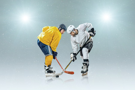 hockey: Ice hockey player on the ice and light effects