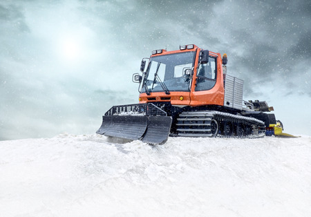road tractor: Tractor cleaning snow outdoors