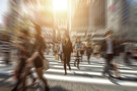 street life: People in bokeh, street downtown view of  Tokyo. Stock Photo