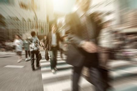 People in bokeh, street downtown view of  Tokyo. Reklamní fotografie