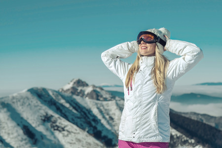 stay beautiful: Happiness female stay on the top of mountain with beautiful view