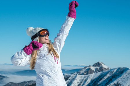 sun down: Happiness female stay on the top of mountain with beautiful view