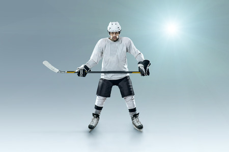 sportsmanship: Ice hockey player on the ice and light effects