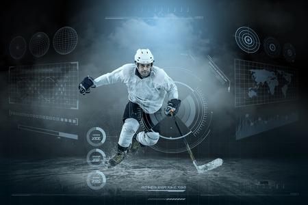 Ijshockeyspeler op het ijs rond moderne licht