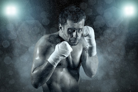 fight arena: Portrait of boxer in blood