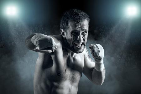 blood sport: Portrait of boxer in blood