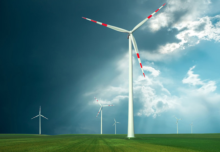 conservation: Windmills outdoor under sky.
