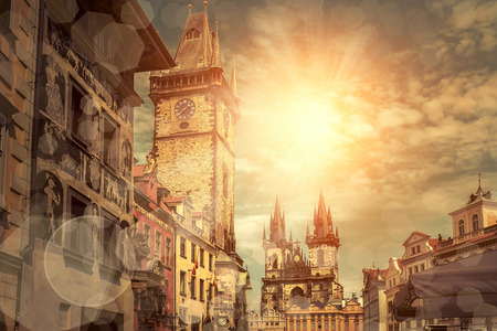 old towns: One of the famous popular travel place in world - Prague under sunlight.
