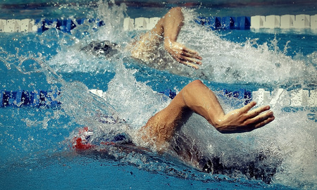 Swimmer in waterpool. Butterfly style