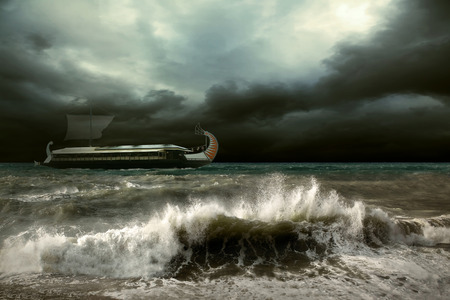 wavely: View of storm seascape with historical ship