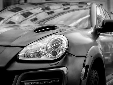 black car: Part of contemporary luxury black car