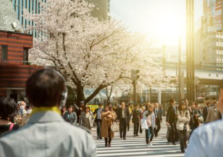 보케 (bokeh)에있는 사람들, 도쿄의 도심지 전망.