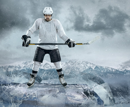outdoor pursuit: Ice hockey player on the ice