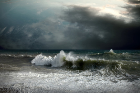 wavely: View of storm seascape Stock Photo