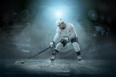 hockey goal: Ice hockey player on the ice around modern light