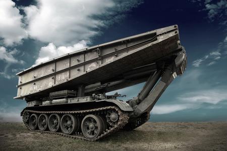 military tank: Military tank under sky
